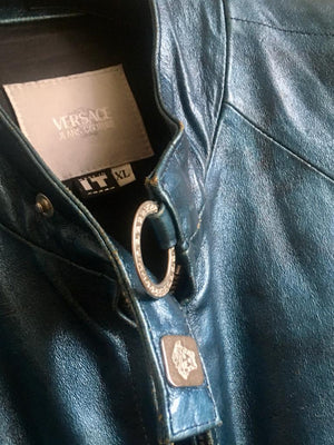 Versace Jeans Couture Royal Blue Leather Jacket with Black Nuances and Medusa Golden Hardware Size 42 (EU)