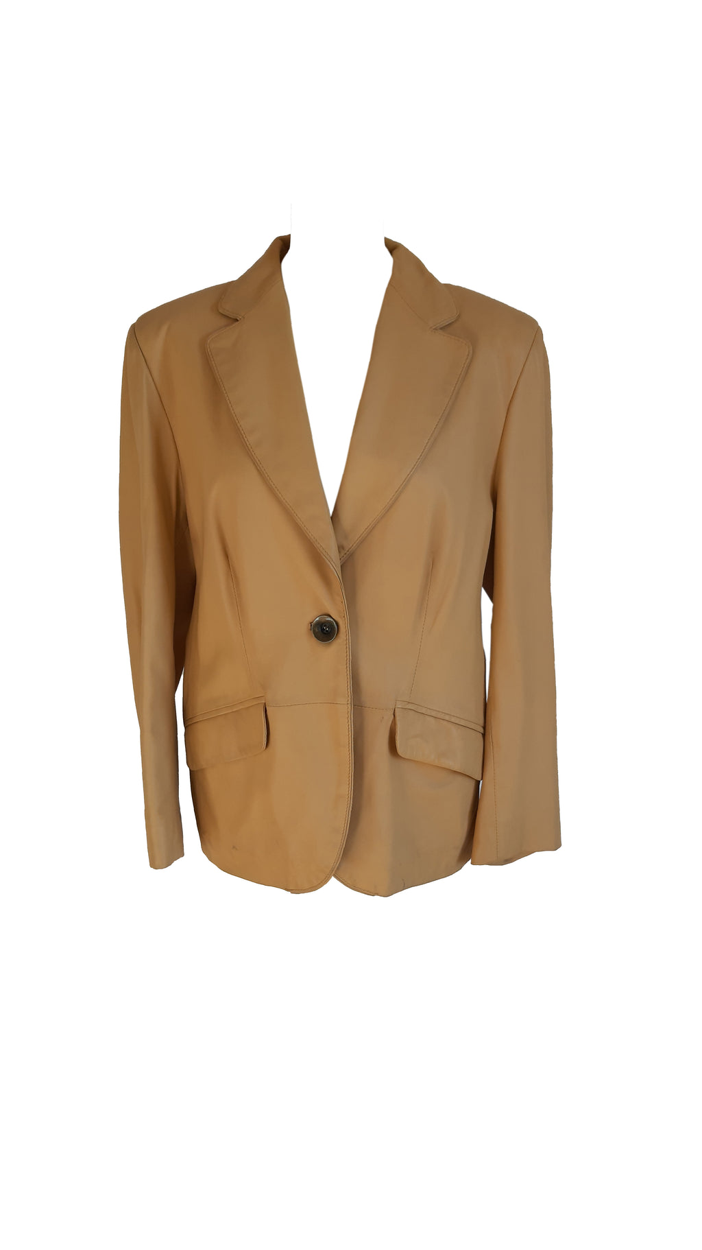 Pied'Poule Real Leather Blazer in Cream Size 44 (EU)