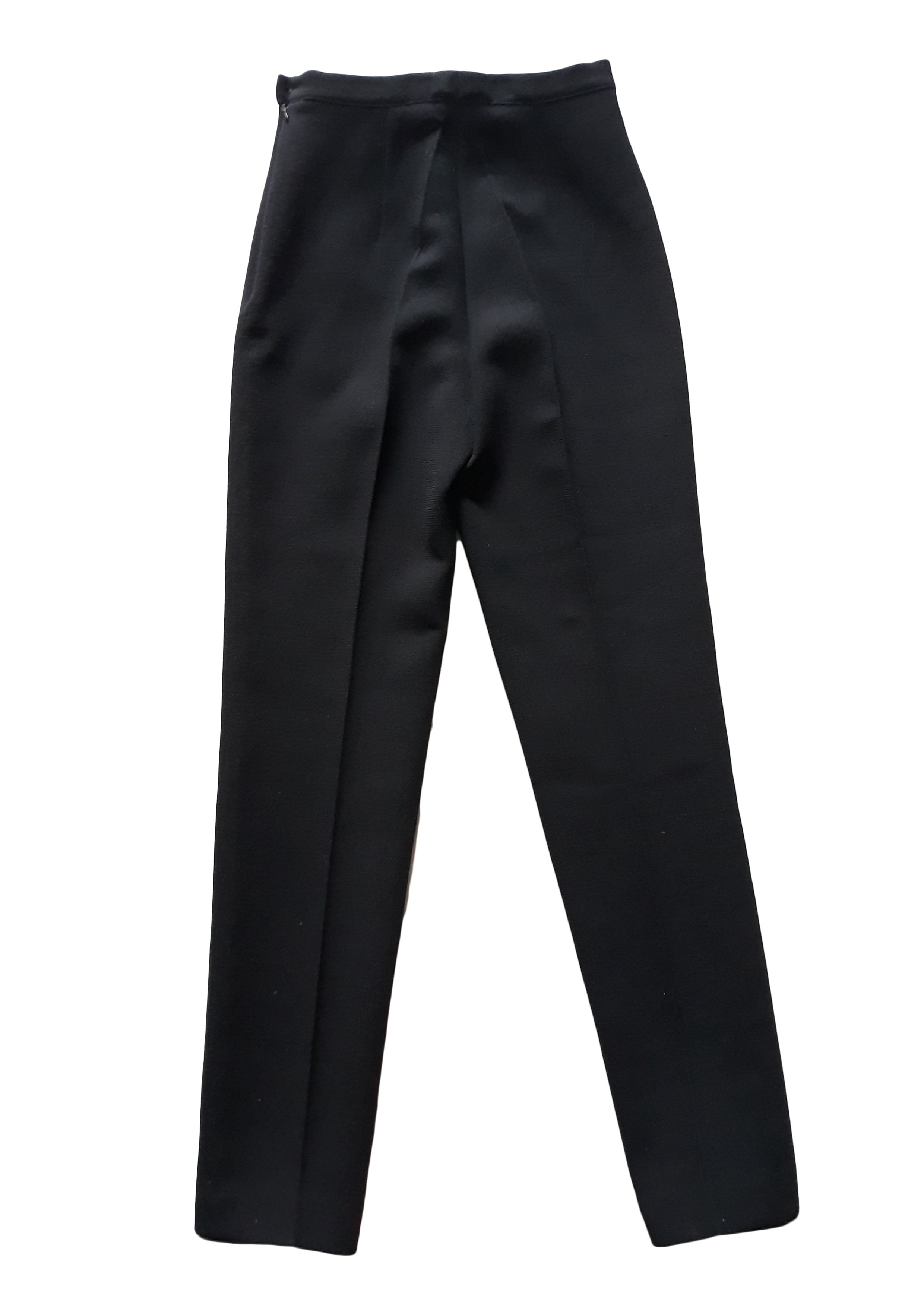 Georges Rech Trousers 100% Wool in Black Size 38 (EU)