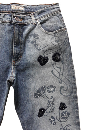 Blumarine Denim Trousers Flowers Size 38 (EU)
