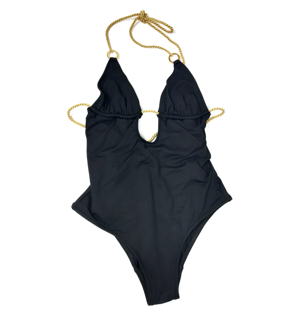 Heidi Klein Swimsuit in Black With Gold Hoop in Size S