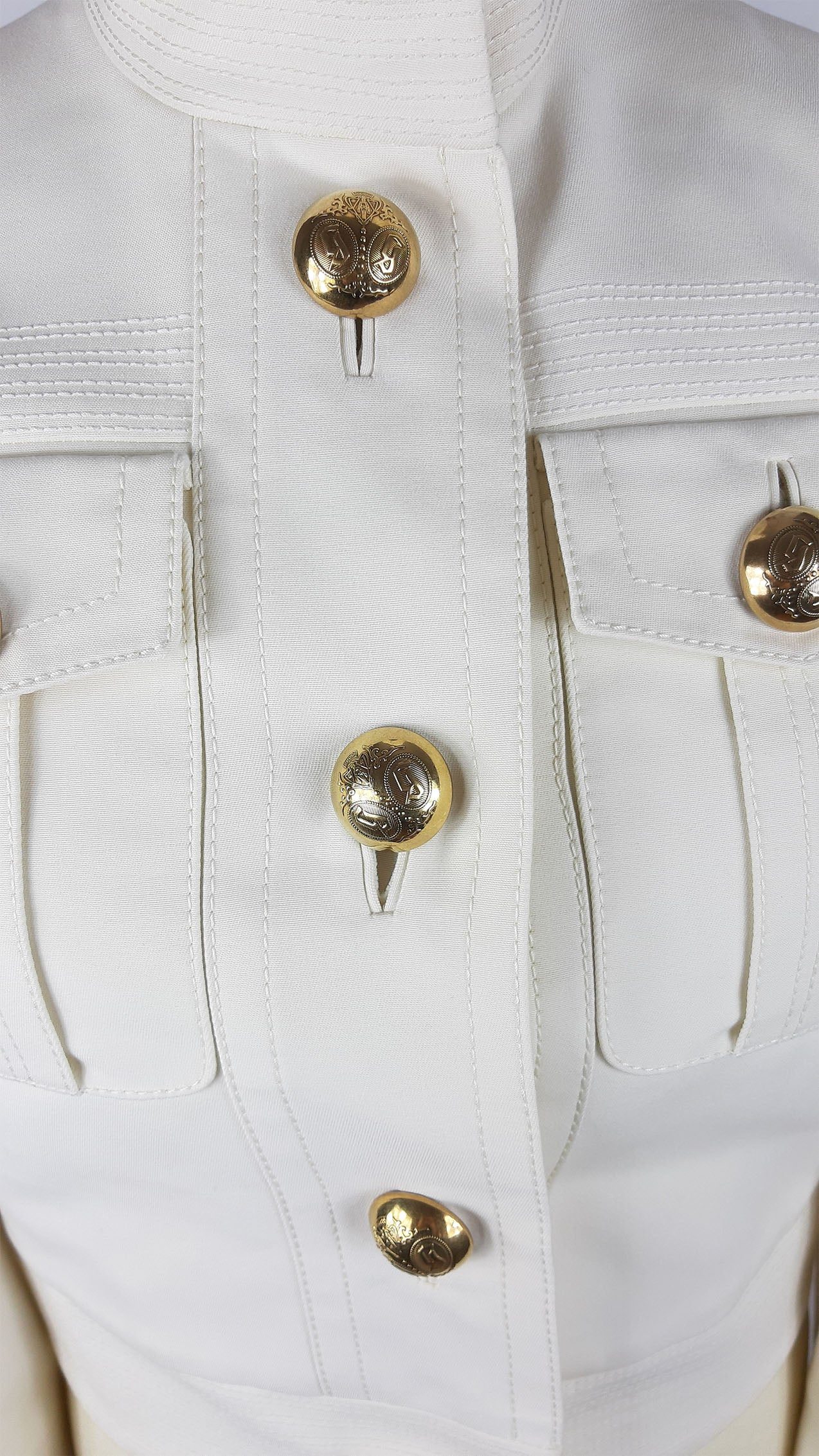 GUCCI Blouson White/Cream Jacket with High Collar with Gold Detailed Buttons and Visible Seams  Size 38(EU)