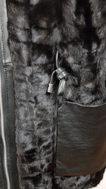 VISON Black Rabbit Fur Straight Jacket with Leather Detailing and Coated Hood Size M