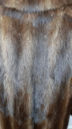VISON Light Brown Completely Covered Fur Oversized Straight Coat Size L (INT)
