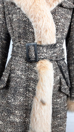 VALENTINO Belted Long Tweed Coat with dyed Fur on the Collar, Cuff and Length Size 36 (EU)