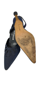 Manolo Blahnik Dark Blue Pointed Toe Sandals Size 36,5 (EU)