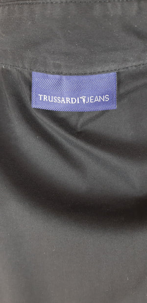 Trussardi Jeans Black Shirt with Rhinestones Details Size XL (INT)