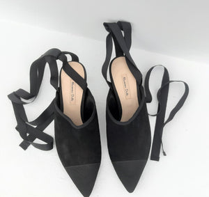 Massimo Dutti Pointed Toe Black Mules with Lace Up Size 37 (EU)