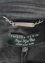 Philipp Plein Black Denim Jacket with Diamond Skull on the Back  Size XL (INT)