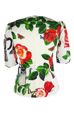 Dolce & Gabbana Floral and Butterfly Waisted Top Size 40 (IT)