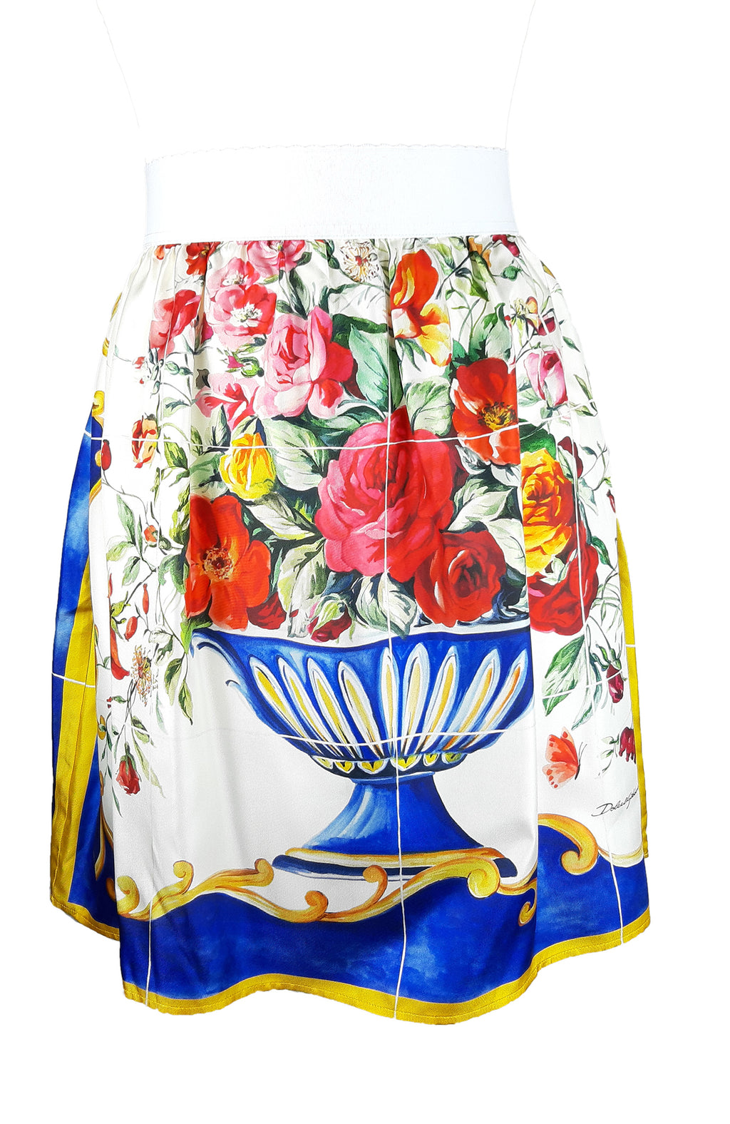 Dolce & Gabbana Floral Skirt in Silk with Elastic Waist Size 46 (IT) 40 (EU)