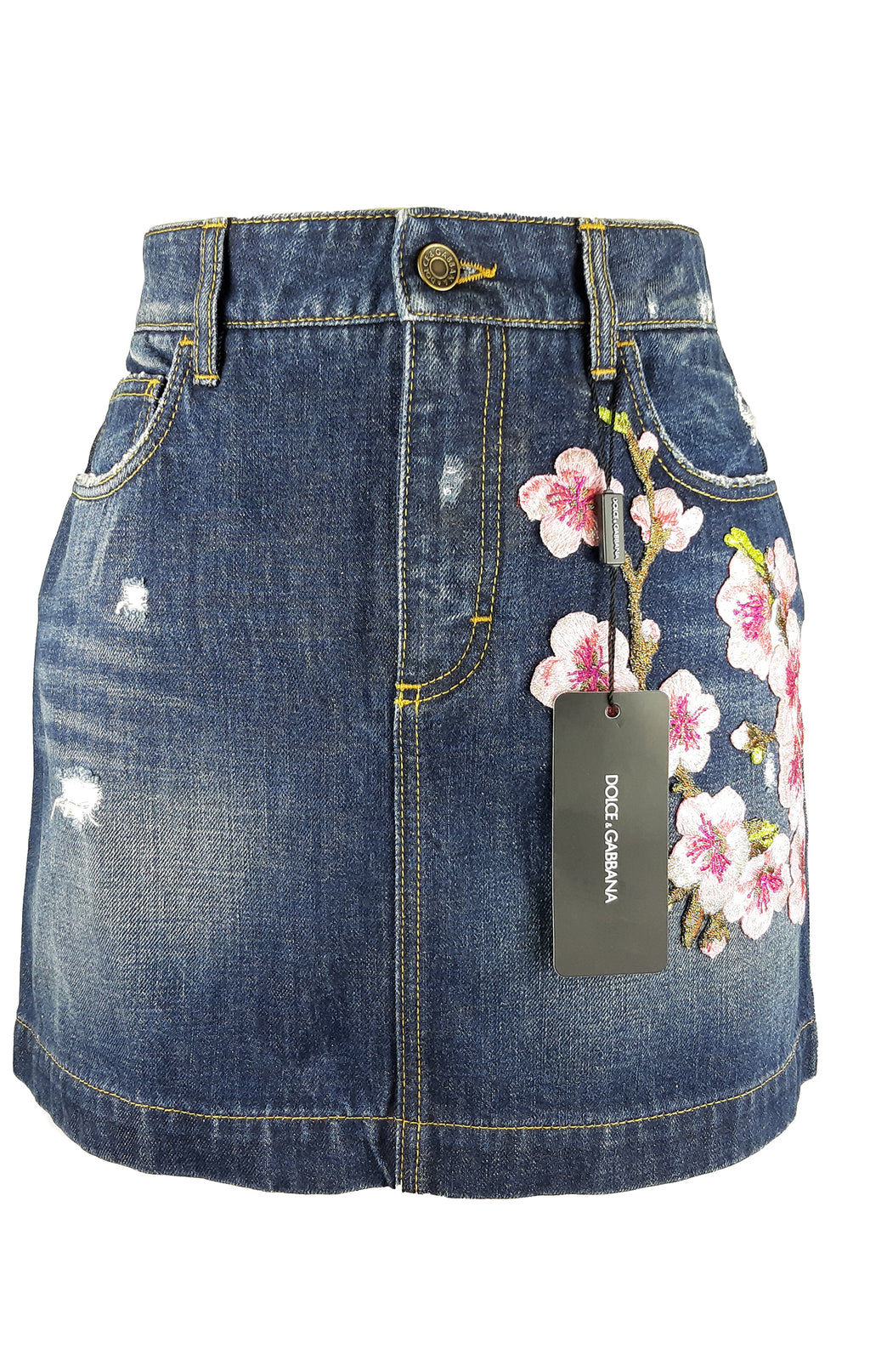 Dolce & Gabbana Denim Skirt with Pink Embroidered Flowers Size 40 (IT) 36 (EU)