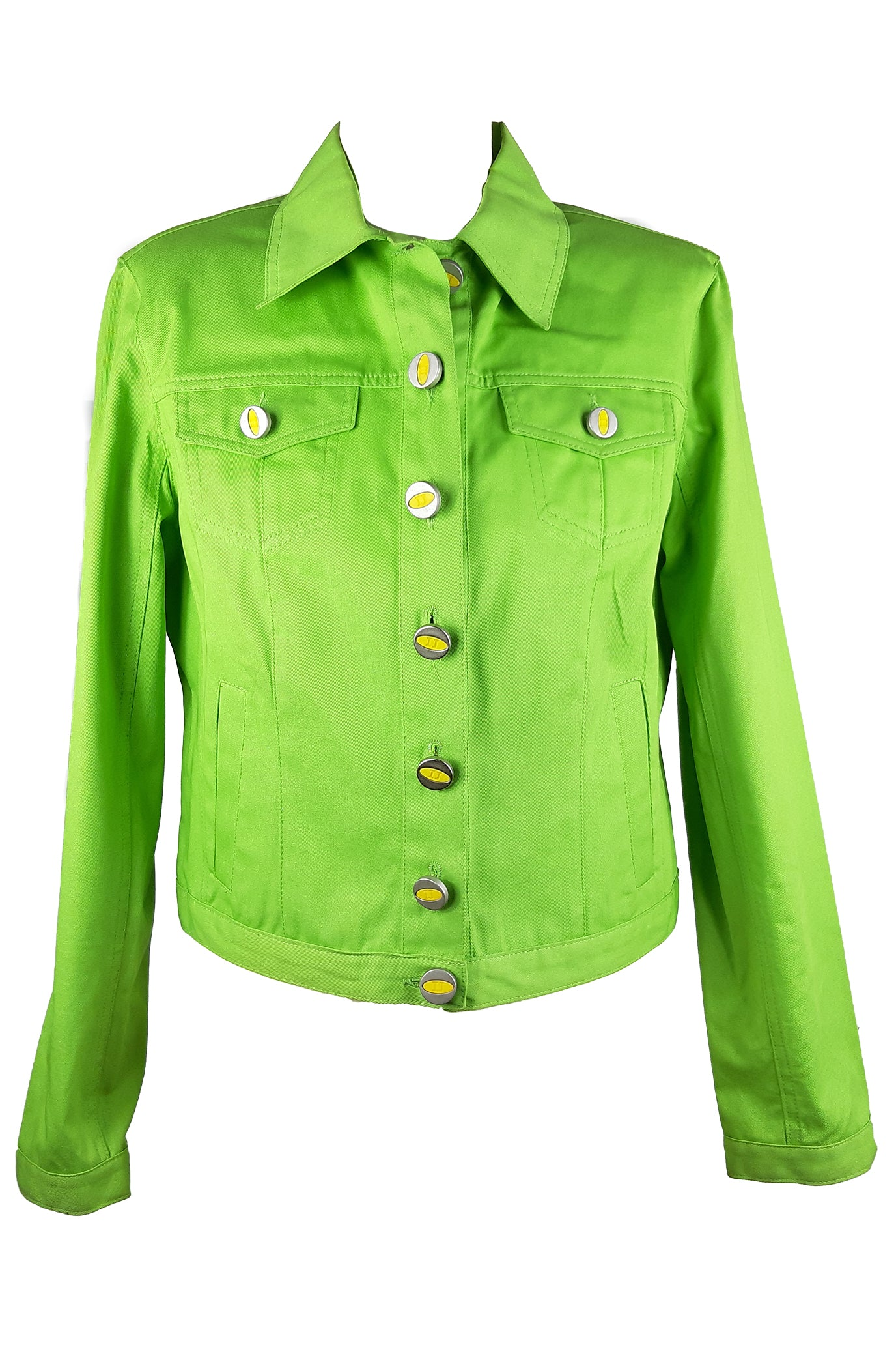Iceberg Jeans in Vibrant Green with Yellow Buttons Size 42 (IT) 38 (EU)
