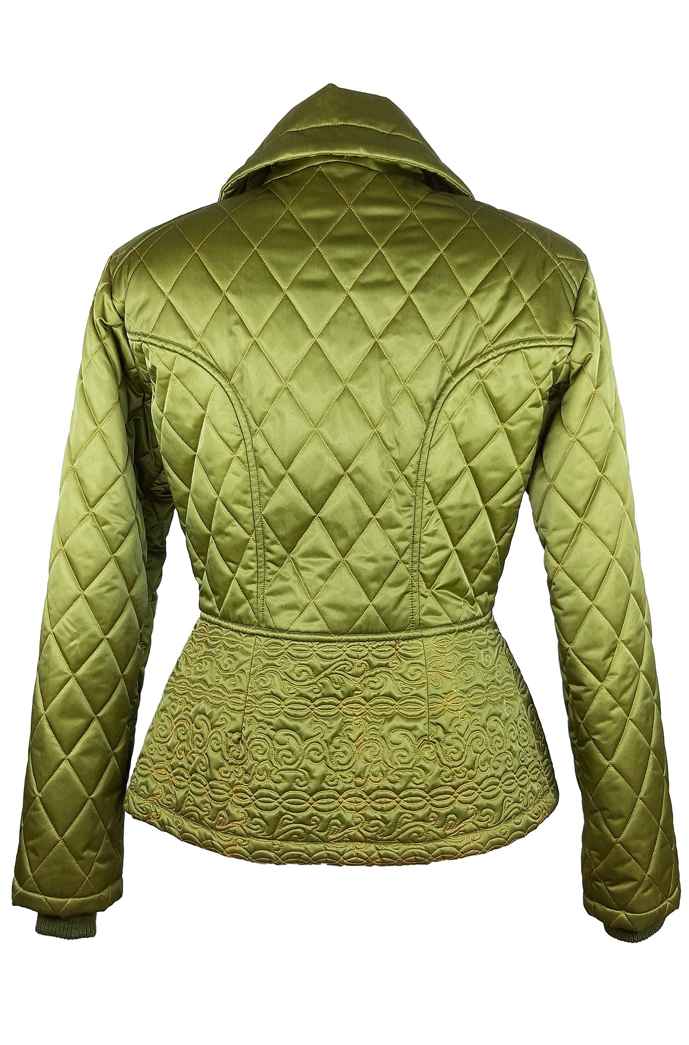 Bazar de Christian Lacroix Green Coat with Yellow Stitch detail Size 38 (EU)