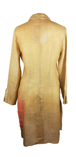 Pianura Studio Shirt Dress in Dark Beige with Dinosaur Size 42 (IT)
