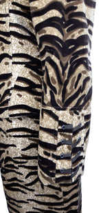 Carolina D'Arcy Animal Print Velvet Suit with Lace Up Back Size 36 (EU)