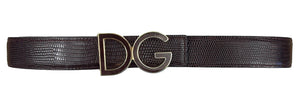 Dolce & Gabbana Belt DG Logo Exotic Leather in Brown Size 75 cm