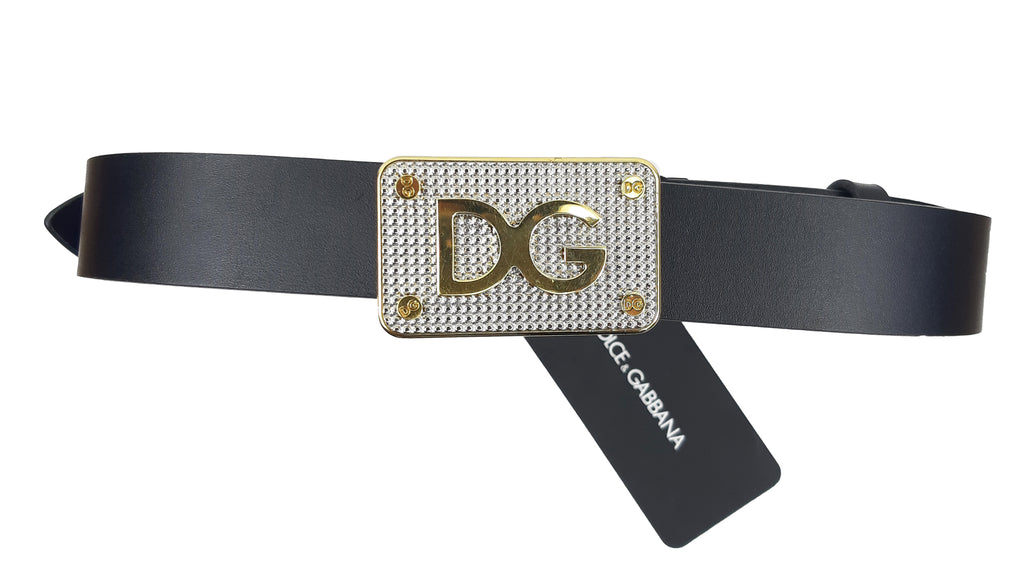 Dolce & Gabbana Belt with Square Buckle in Shining Gold Size 90 cm
