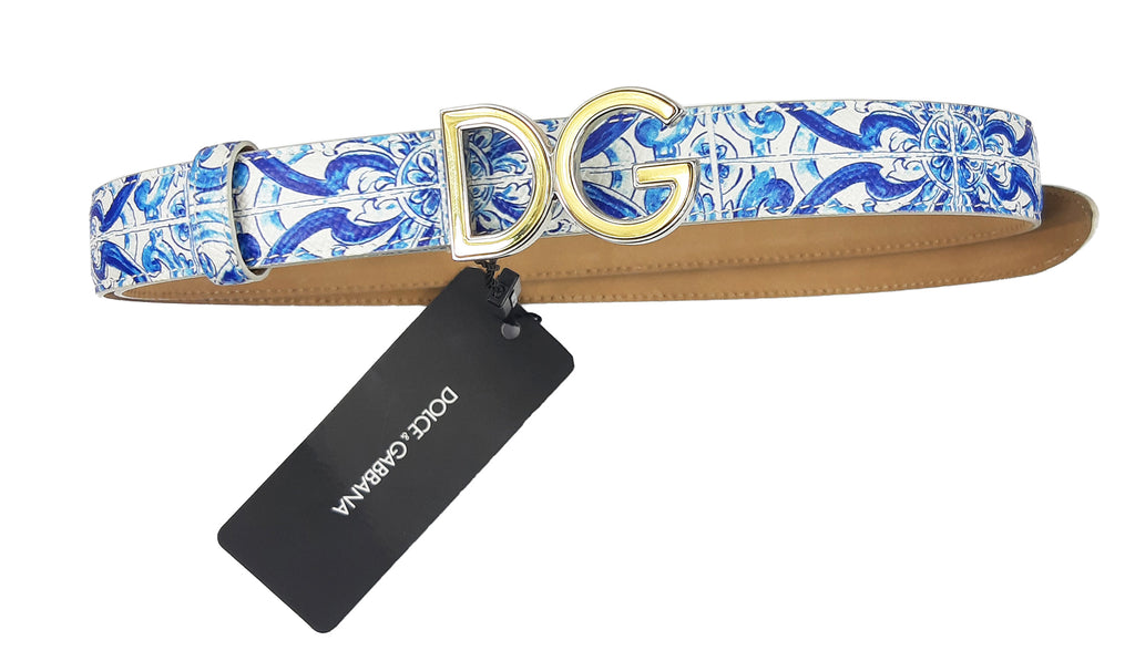 Dolce & Gabbana Blue Majolica Leather Belt Size 90 cm