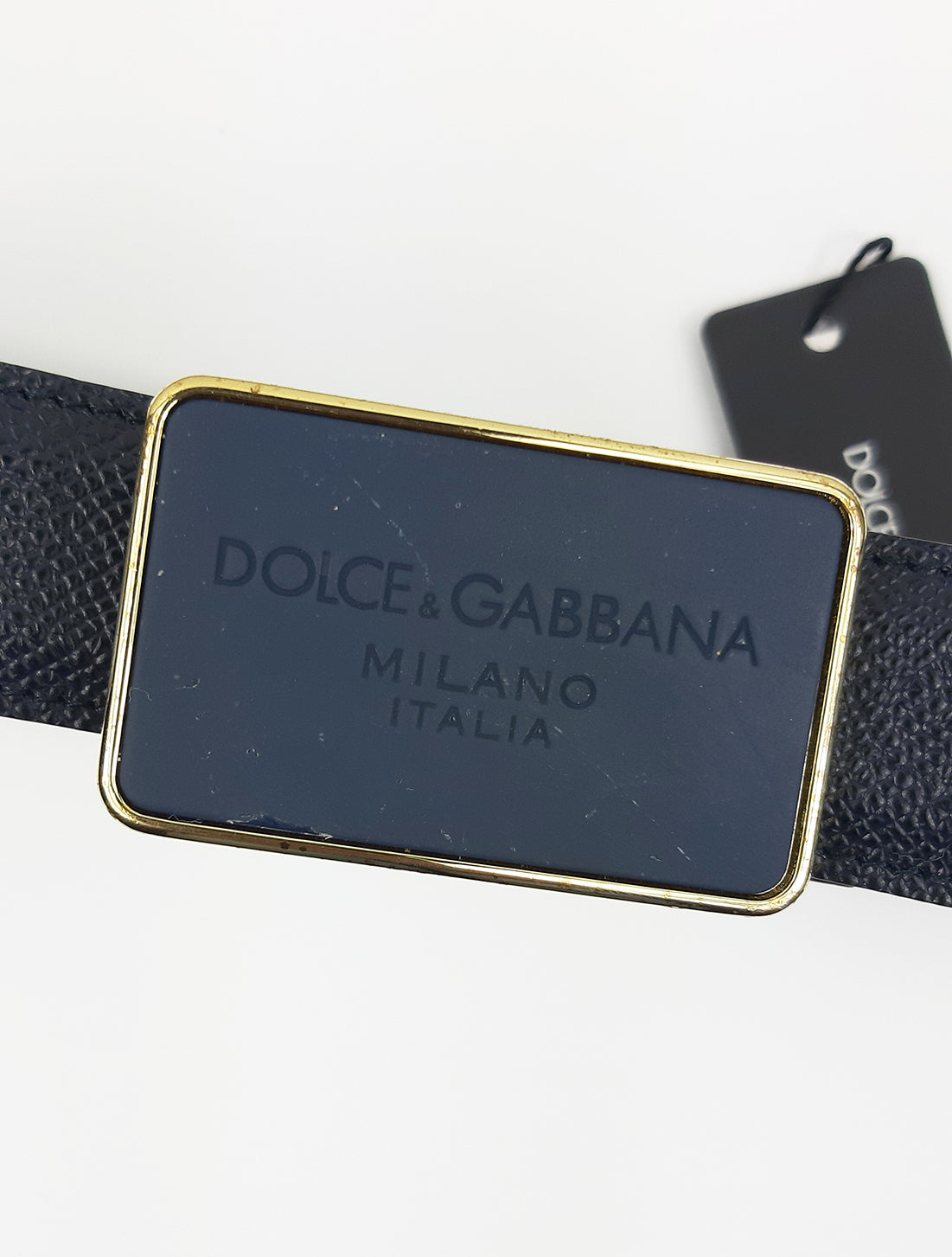 Dolce & Gabbana Black Belt with Square Black and Golden Buckle  Size 95 cm
