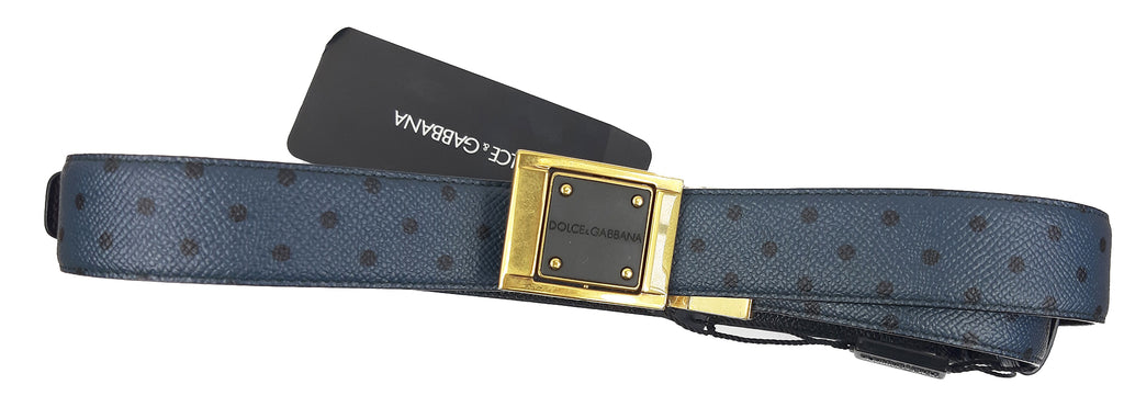 Dolce & Gabbana Belt in Blue and Black Polka Dots and Square Buckle Size 100 cm
