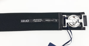 Liu Jo Elastic Black Belt with Metallic Stripes Size S (INT)