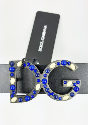 Dolce & Gabbana Black Belt with DG Logo in Blue and White Gems Size 85 cm