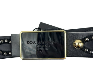 Dolce & Gabbana Belt with Square Buckle and Golden Studs Size 90 cm