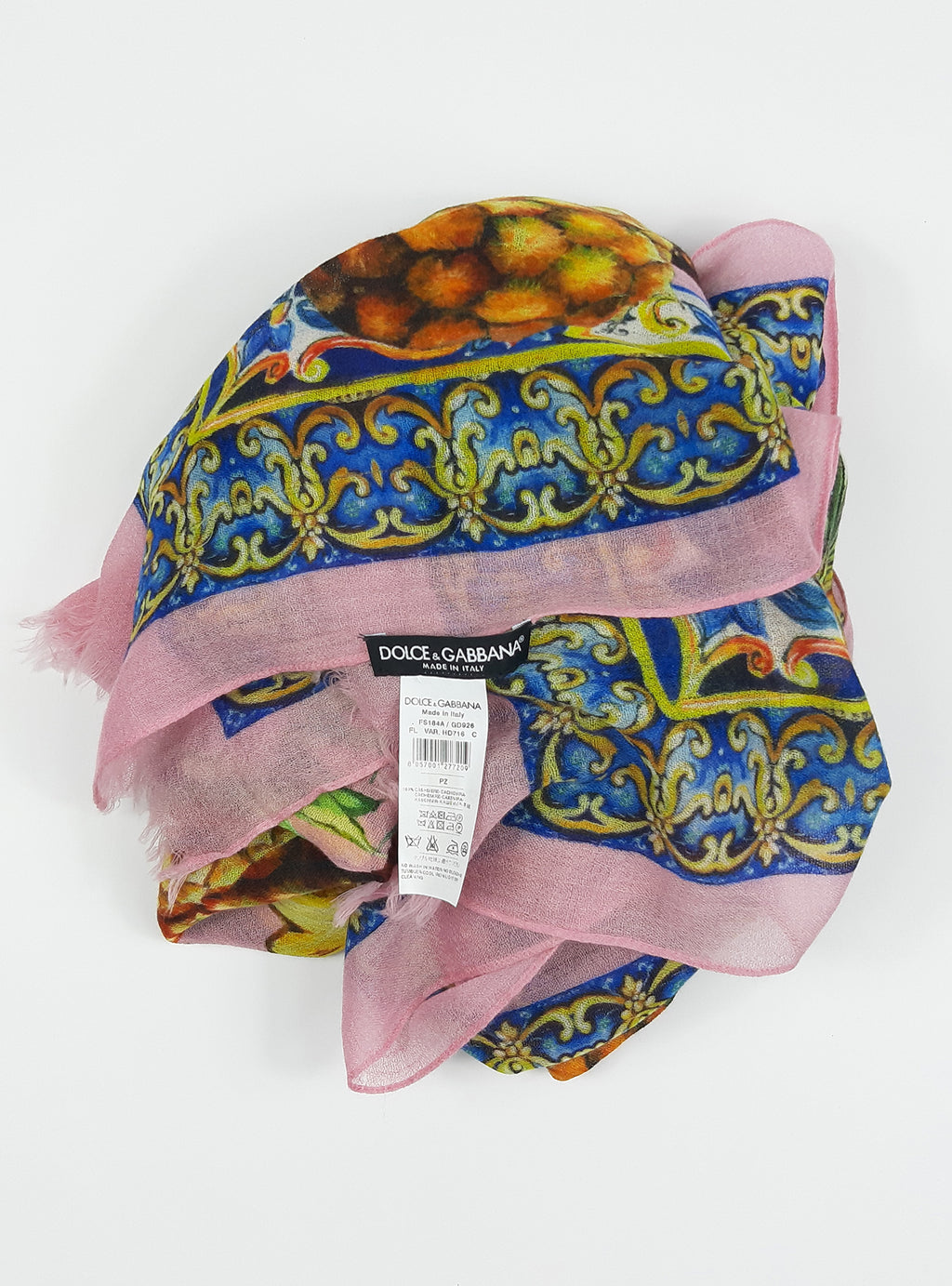Dolce & Gabbana Pink Silk Scarf and Pineapples