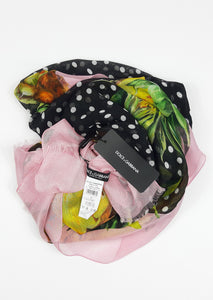 Dolce & Gabbana Silk Scarf With Polka Dots and Pink