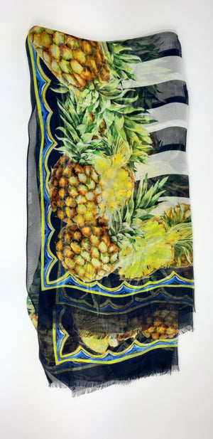 Dolce & Gabbana Silk Scarf with Stripes and Pineapples