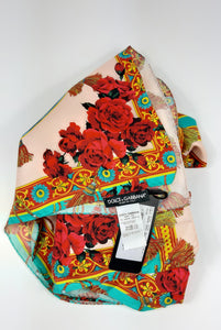 Dolce & Gabbana Silk Scarf Turquoise , Red and Beige