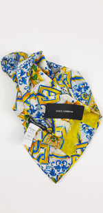 Dolce & Gabbana Cotton Silk Scarf with Lemons