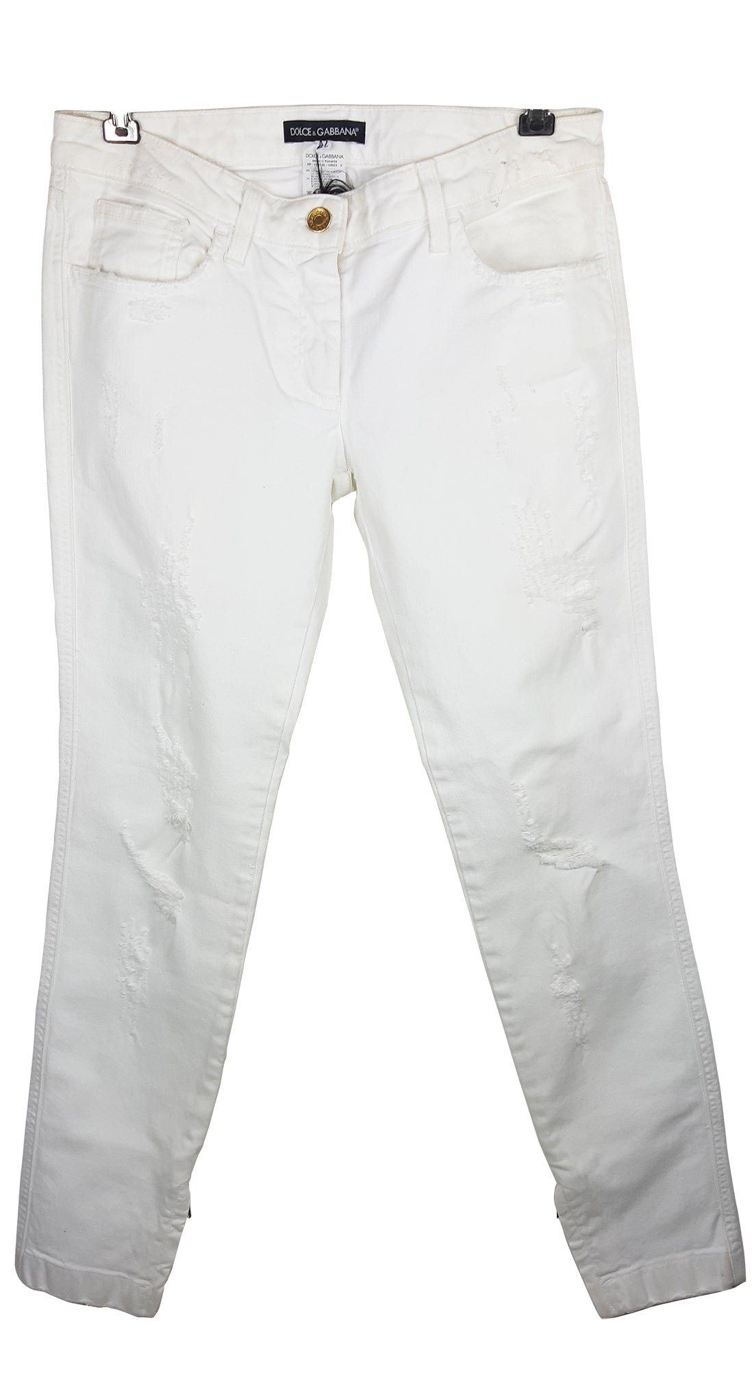 Dolce & Gabbana Ripped Jeans in White with Side Golden Zips Size 42 (IT) L (INT)