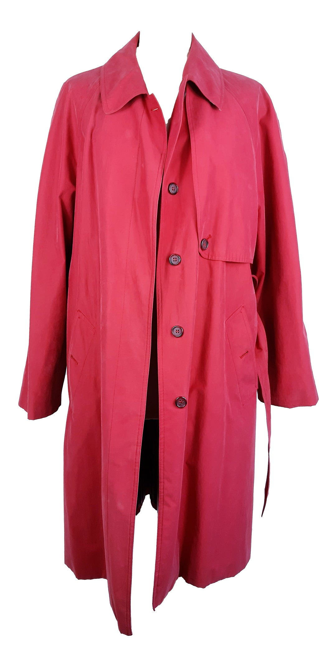 Authentic 'Burberrys' Prorsum Vintage Trench Coat in Red with Blue Lining Size 44 (EU)
