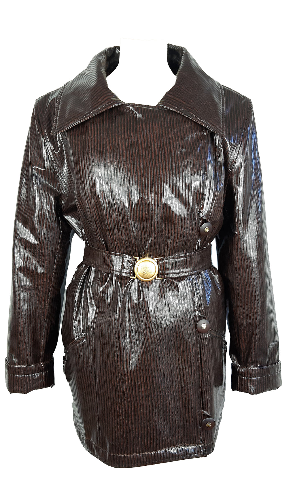 Nina Ricci Paris Patent Leather Coat Size 42 (EU)