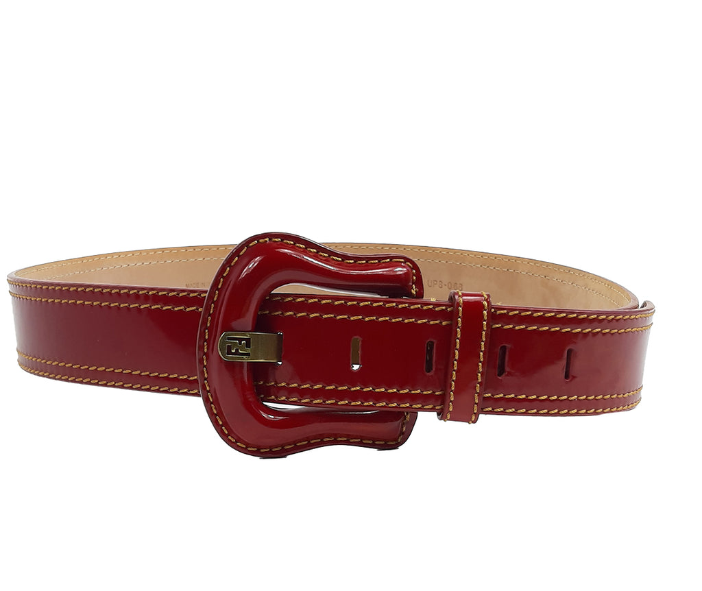 Fendi Vintage Red Belt in Patent Leather with FF detail in the Prong and Yellow Stitches Size 100 cm