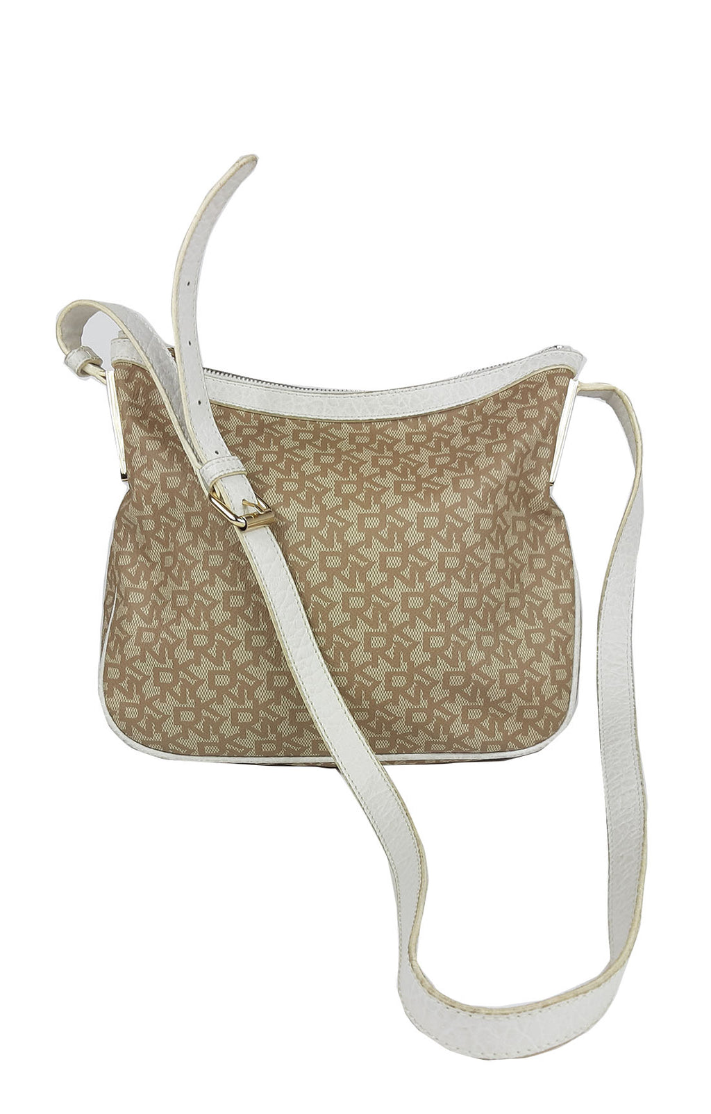 DKNY Logo Motif Crossbody Bag in Beige and White and  Gold-toned Hardware