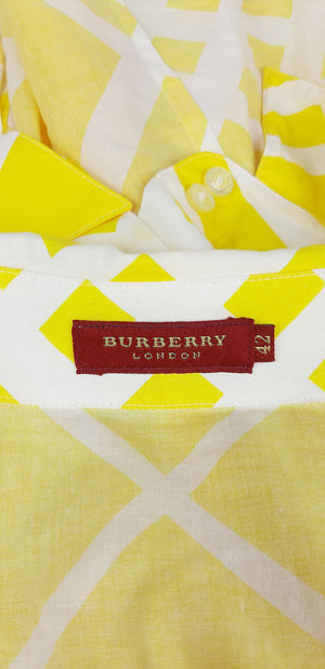 Burberry White and Yellow Short Sleeved Shirt Size 42 (EU)