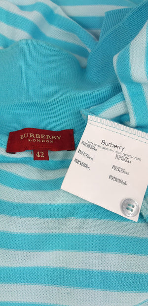 Burberry Polo Dress in Blue and Turquoise Stripes Size 42 (EU)