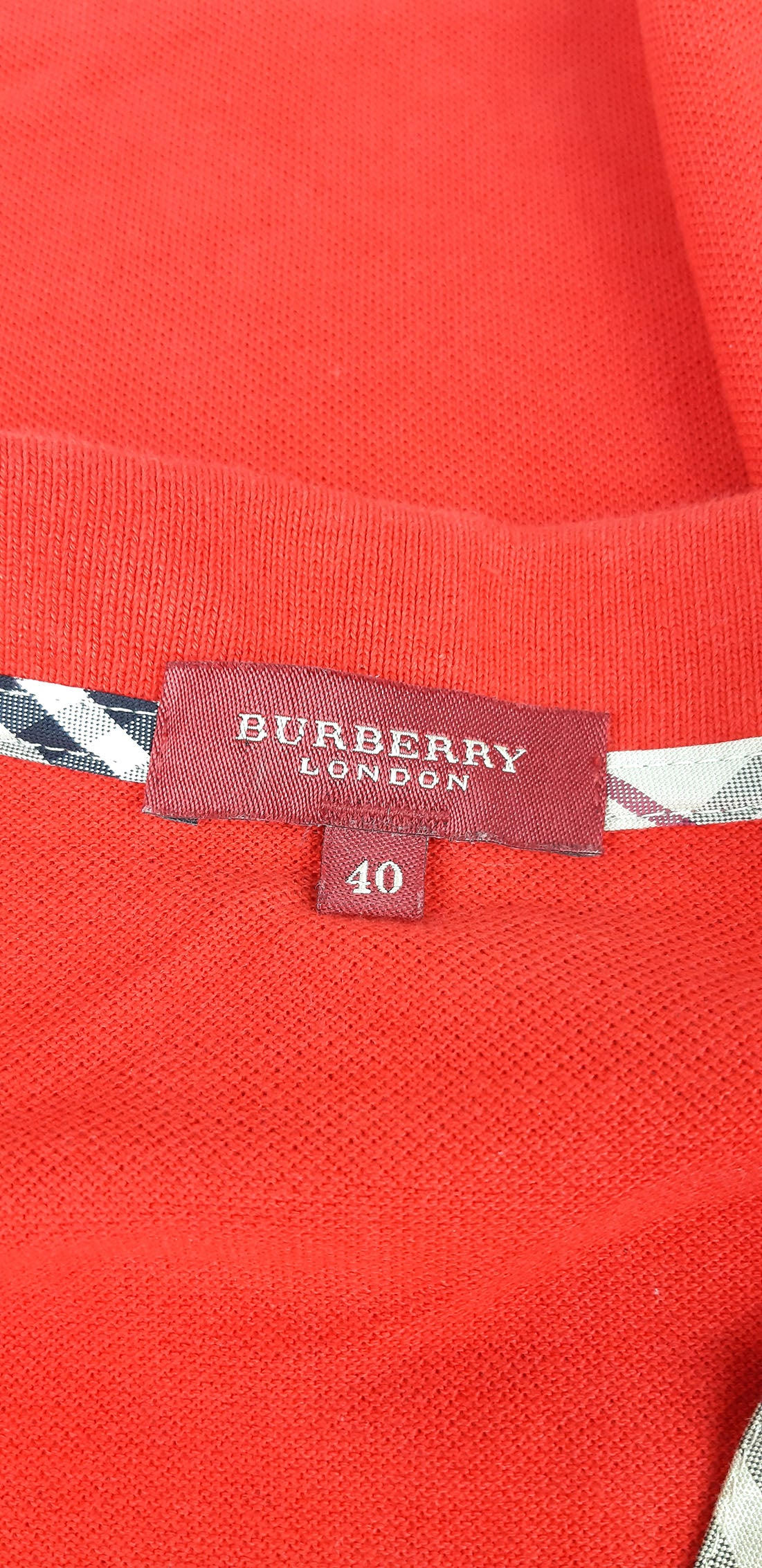 Burberry Sleeveless Polo Shirt in Red and Check Pattern Details Size 40 (EU)