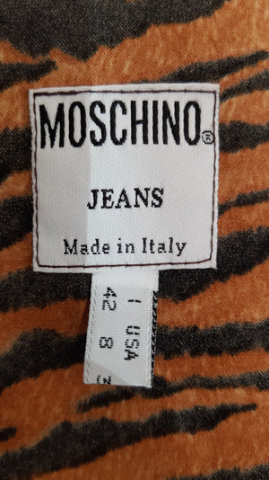 Moschino Jeans Tiger Print Short Sleeved Blouse  Size 38 (EU) 42 (IT)