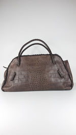 Furla Brown Handbag in Crocodile Leather