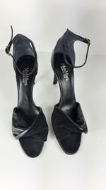 Max Mara Leather and Suede Black Sandals Size 39 (EU)