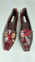 Marc Jacobs Bordeaux Leather Flats with Golden Details and Bow Size 40  (EU)