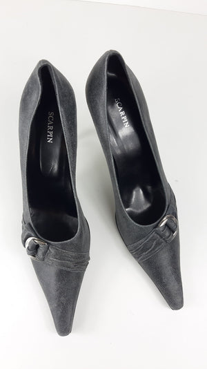 Scarpin Grey Shoes with Metallic Heel size 39 (EU)