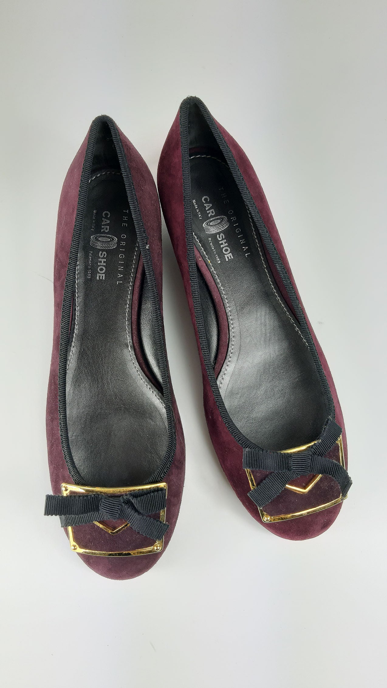 Car Shoe Suede Bordeaux Flat Shoes with Golden Detail size 39  (EU)