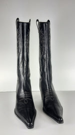 Western Black Leather Boots With White Embroidery Size 38,5 (EU)