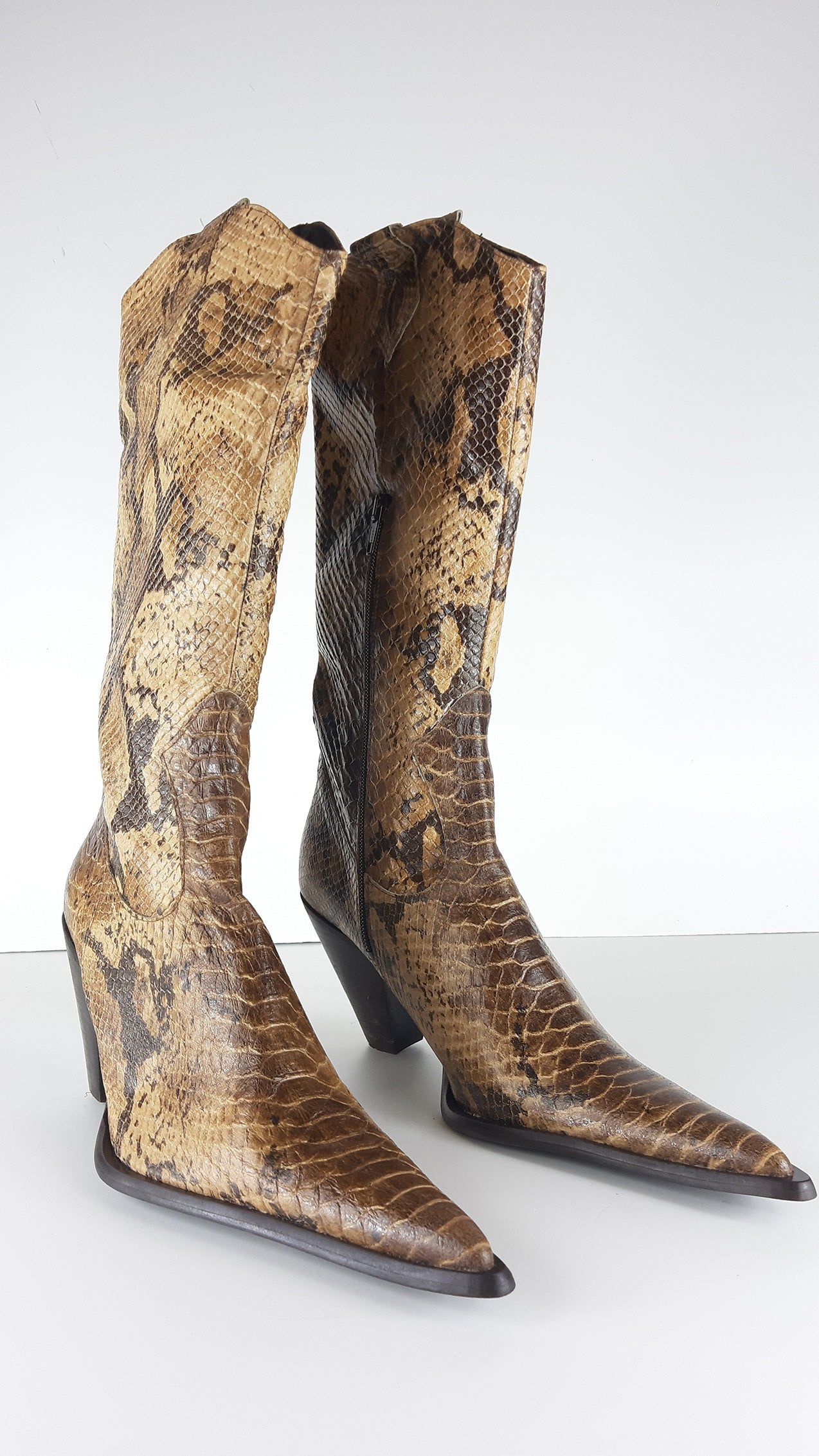 Western Snake Leather Look in Beige and Brown Size 39 (EU)