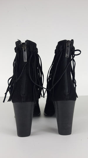 A.G. Black Fringes Suede Ankle Boots Size 40 (EU)